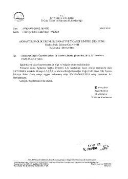 Tarım Bakanlığı Naturbes Omega Onay Yazısı